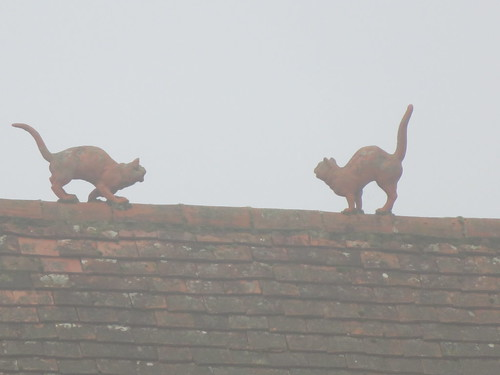 UK - Hertfordshire - Marden Hill - Decorative cats on Mereden Cottage