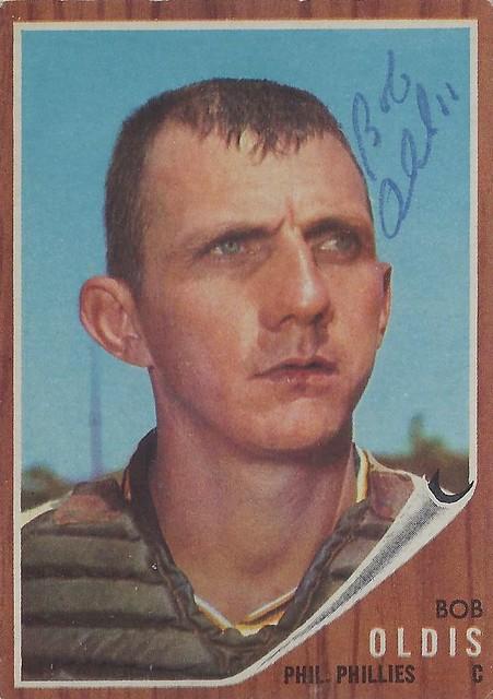 1962 Topps - Bob Oldis #269 (Catcher) - Autographed Baseball Card (Philadelphia Phillies)