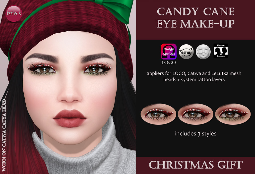 Candy Cane Eye Make-Up (Christmas Gift) - SecondLifeHub.com
