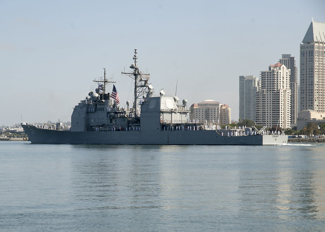 SAN DIEGO -  The guided missile cruiser USS Cape St. George (CG 71) departs San Diego on a deployment to the U.S. 7th Fleet area of operations. Cape St. George is scheduled to participate in Rim of the Pacific (RIMPAC), the world's largest international maritime exercise before proceeding to 7th Fleet to conduct theater security cooperation missions.