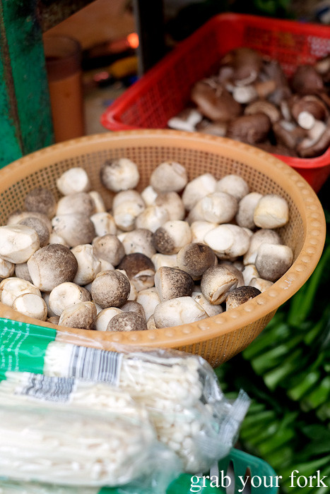 Fresh straw mushrooms at the Gage Street market in the Central district, Hong Kong