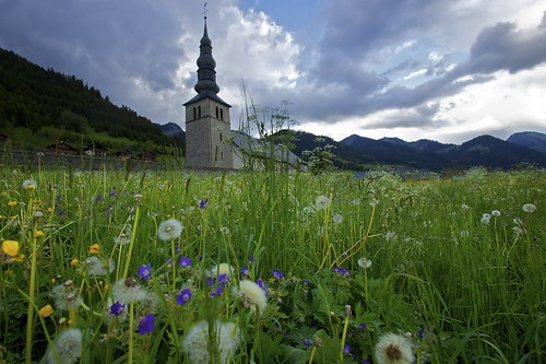 sunset cloud france church cloudy meadow valley alp imposing