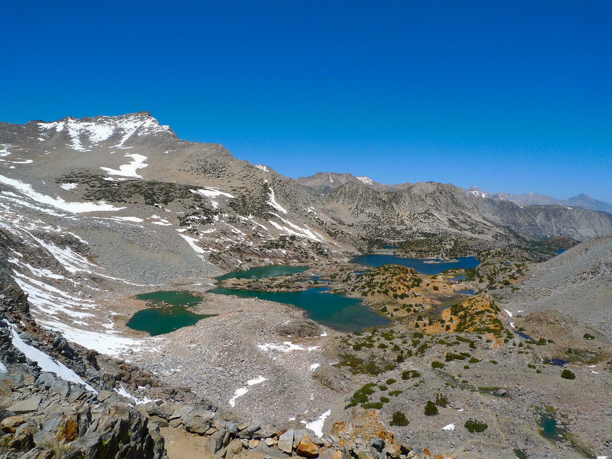 Bishop and Saddlerock Lake from the trail to Bishop Pass