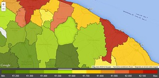 Prezzi medi al metro quadro per comune (Fonte Immobiliare.it)