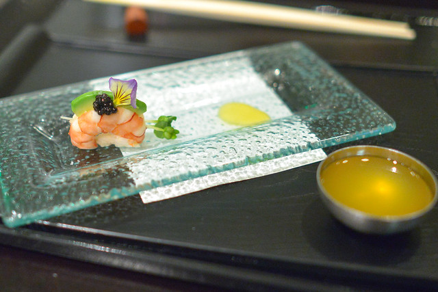 sunomono black tiger shrimp, white sturgeon caviar, yuzu miso