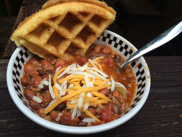 Chili with Cornbread Waffle