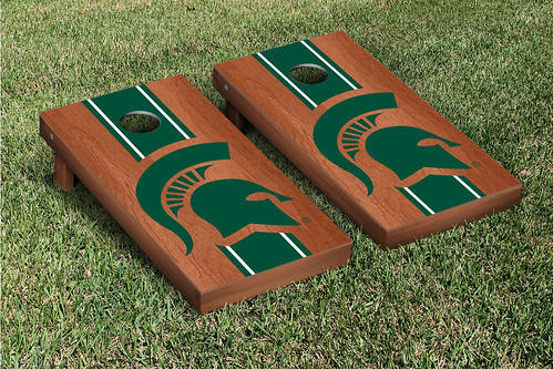 Michigan State Spartans Cornhole Game Set Stained Striped