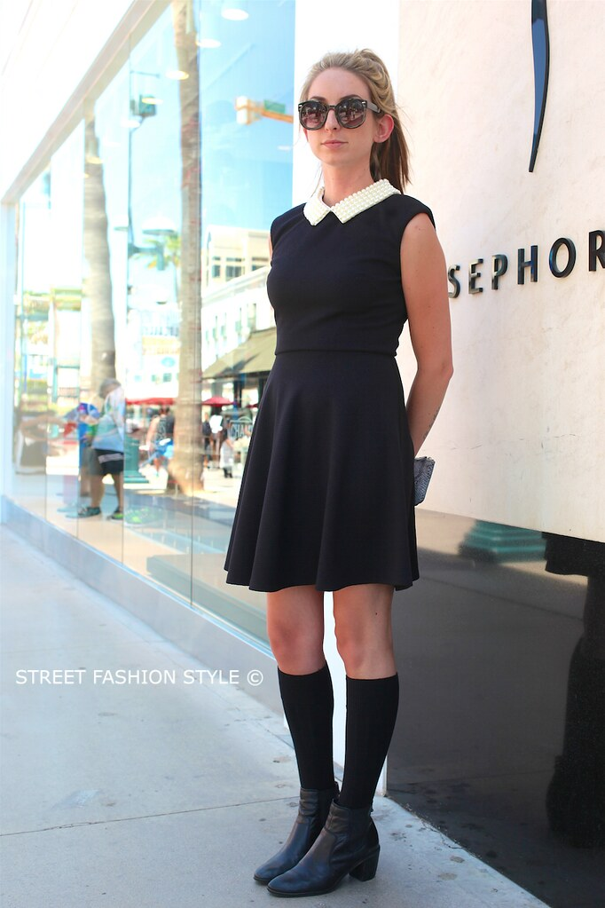 betsey johnson pearl collar dress, STREETFASHIONSTYLE, street fashion style, los angeles streetstyle fashion blog,