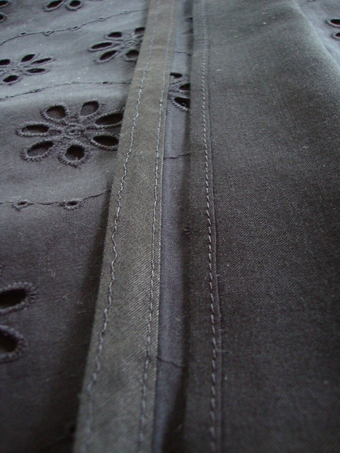bias hem exterior, narrow hem on lining interior