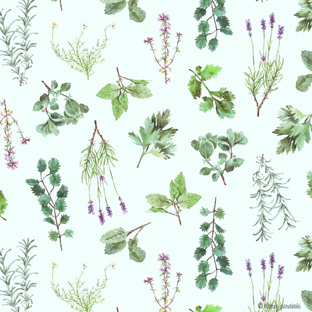 Herb Garden Pattern lt blue back