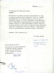 103. Szűrös Mátyásnak, az Országgyűlés elnökének választávirata dr. Habsburg Ottónak