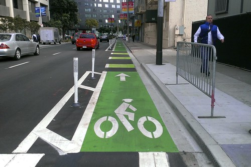 polk street cycle track (same direction)