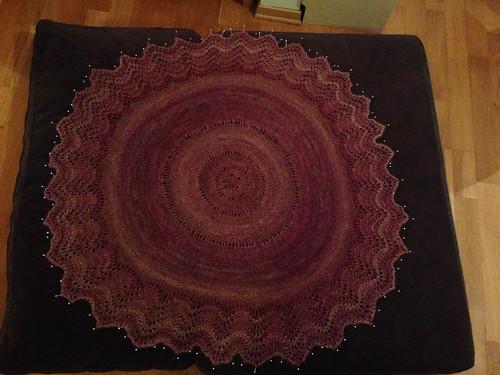 Pi shawl per Elizabeth Zimmerman. Hand spun silk/BFL