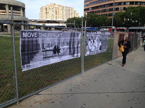 """Move This Fence"" Sign at Silver Spring Transit Center"