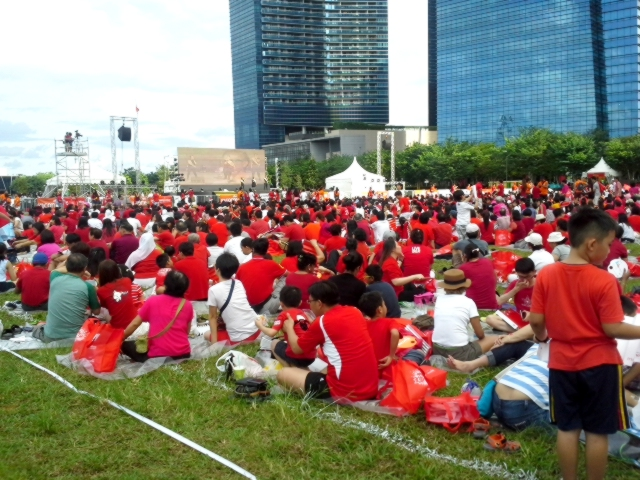 The red crowd at Young NTUC Celebrates National Day 2014