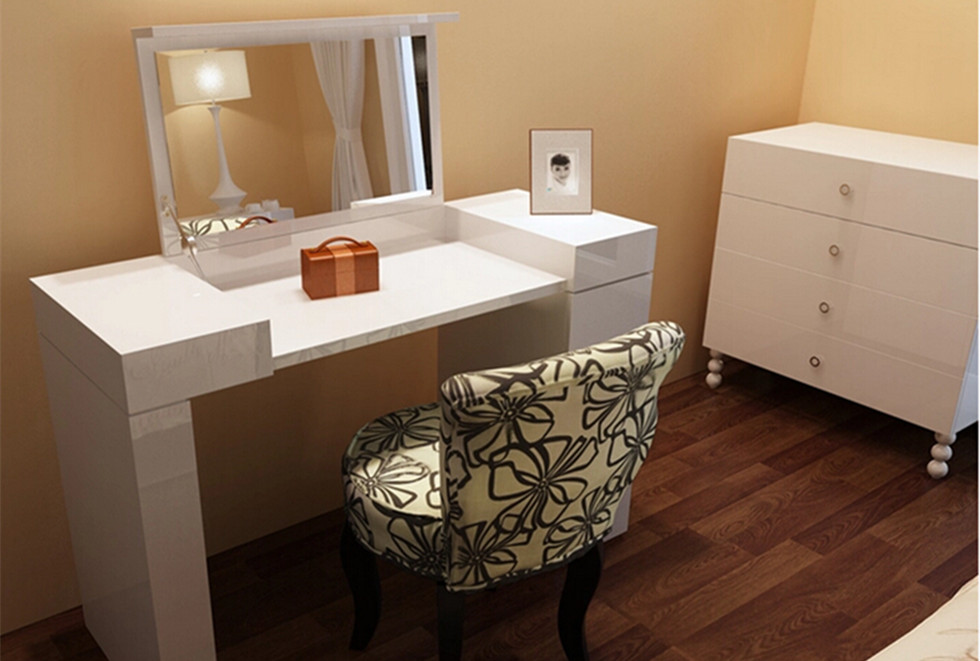 New High Gloss White Dressing Table Console Mirror 2 Drawer Storage Makeup Desk Ebay