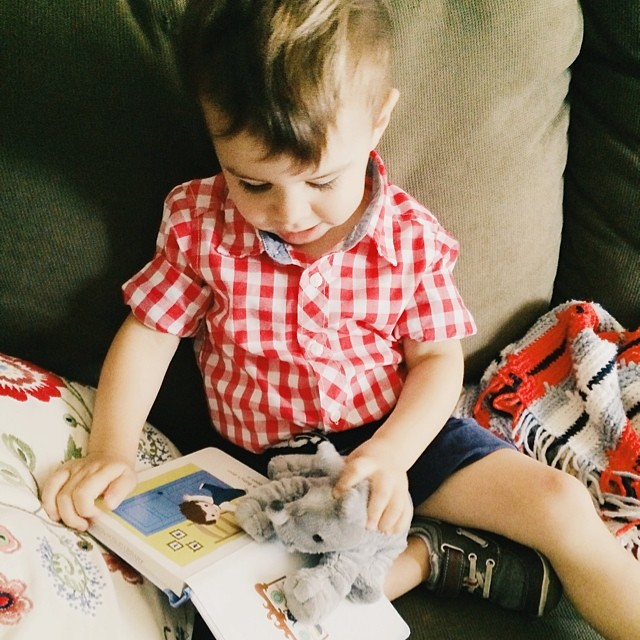 Reading his new favorite book to his new favorite stuffed animal. #instaluther #toddler #children