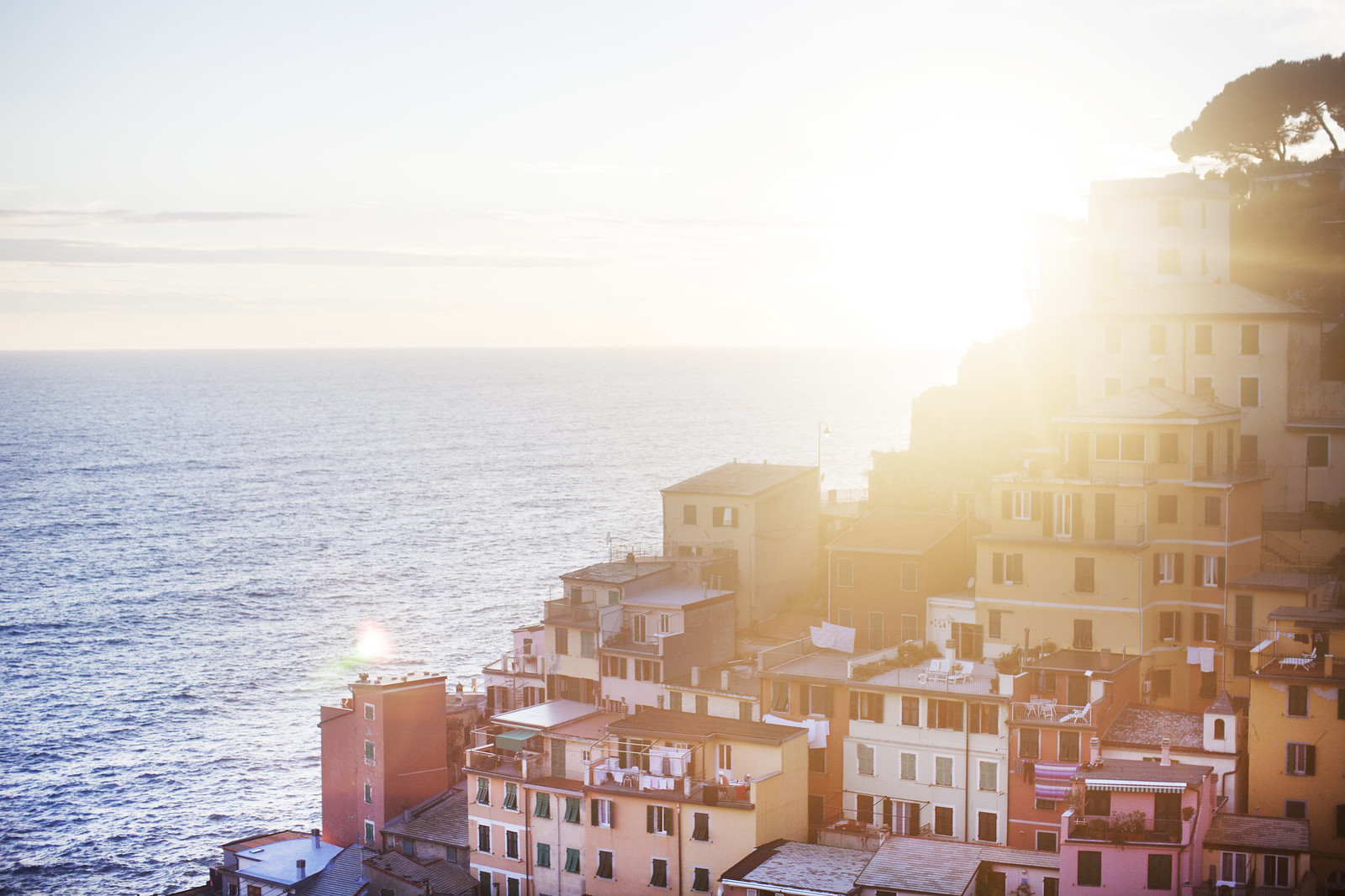 Riomaggiore, Cinque Terre, Italy at sunset