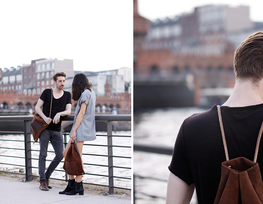 Hevan Berlin backpack couple shooting Berlin Kreuzberg cute story fashion men girl boy nautical river fashion blogger CATS & DOGS Ricarda Schernus 1