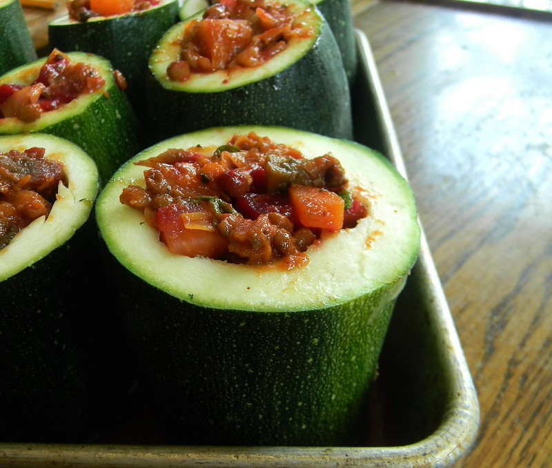 "Harvest Ragoût-Filled Zucchini ""Marrow"""