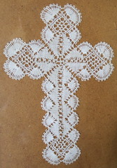 Lace cross (framed), the Church of St Margaret, Braceby, Lincolnshire
