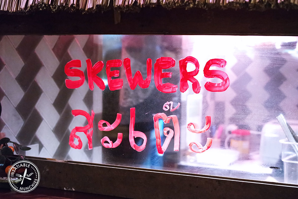 A quaint sign for skewers from Yurippi at The Cliff Dive in Darlinghurst