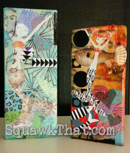 Mermaid collage blocks.