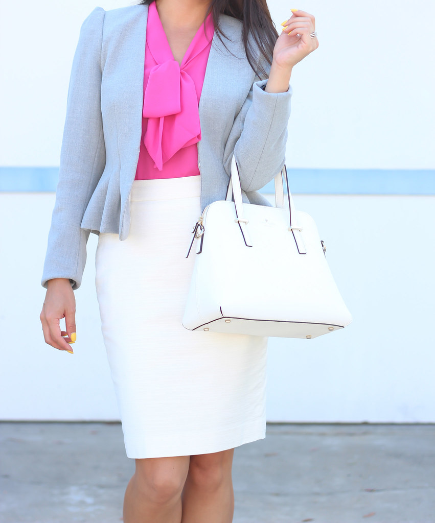 H&M Gray Blazer and PInk Bow Blouse-4