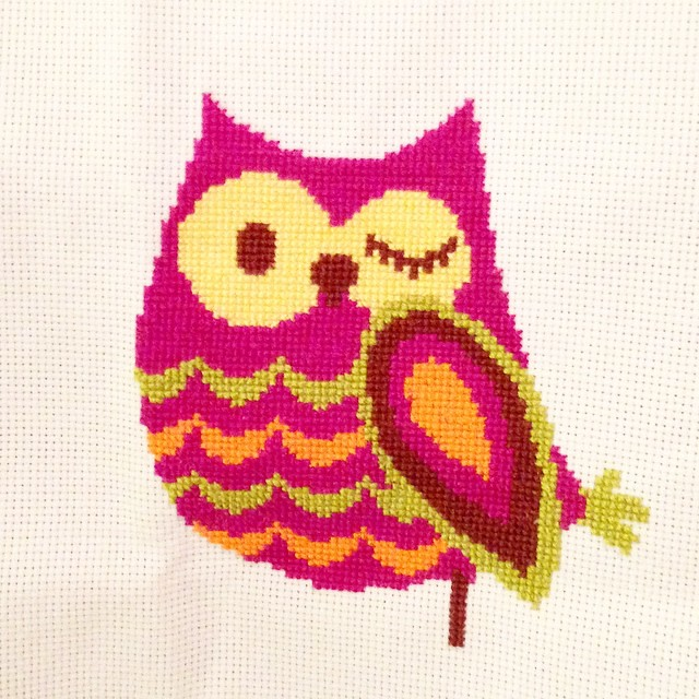The owl is complete. Now it's time to move on to the tree. #kbcrossstitch