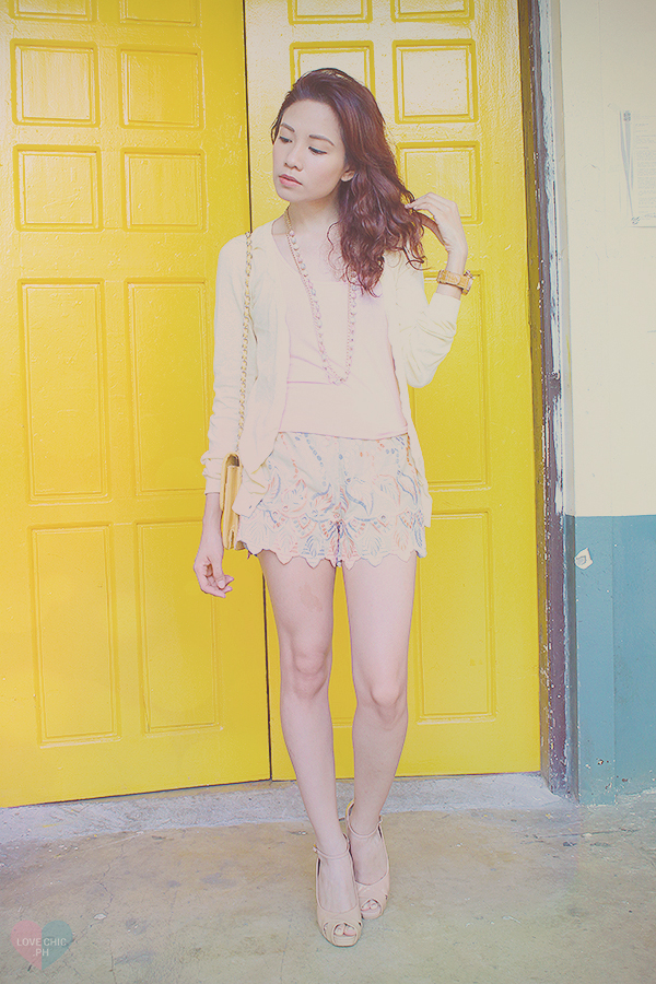 lovechic love chic shai lagarde shailagarde tumblr top fashion blogger philippines street style outfit ootd casual yellow ninoy aquino filipino pastel teenvogue teen vogue shorts cardigan watch heels asian lookbook chictopia summer wavy red hair UP 3