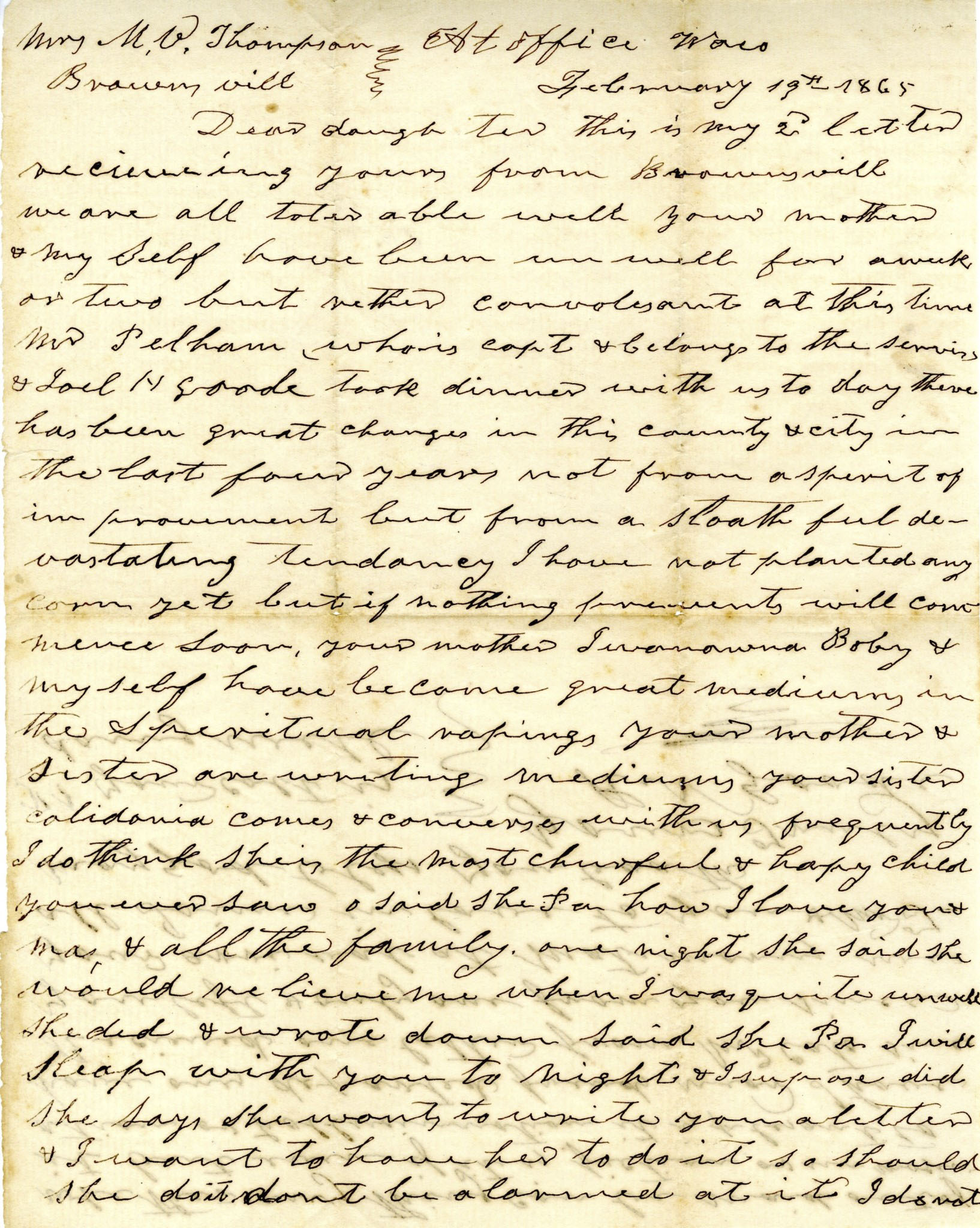 Letter from Richard N. Goode to Mary Virginia Thompson, Feb. 19, 1865