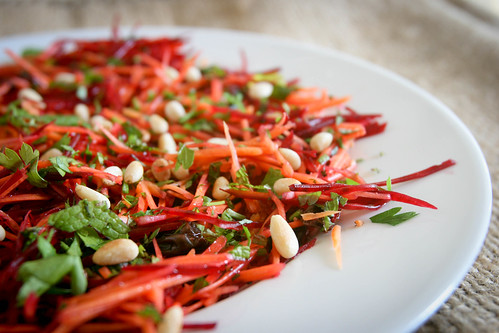 Raw Carrot & Beetroot Salad with Raisins & Pine Nuts
