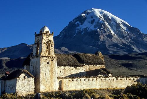 church volcano bolivia sajama