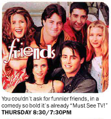 Friends 1994 premiere ad blurb
