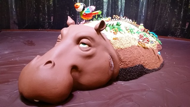Hippopotamus made of chocolate! There is even a cute toucan on top!