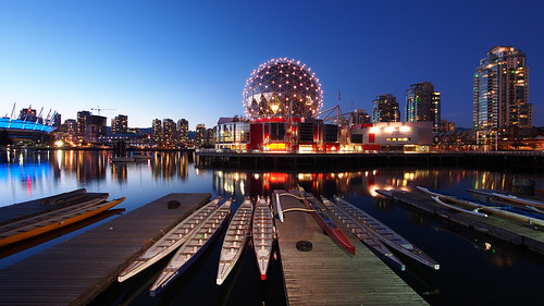 blue sky canada water vancouver reflections boats twilight dock bc britishcolumbia wharf dome falsecreek bluehour geodesic 169 dragonboats scienceworld telusphere bcplace telusworldofscience panasoniclumix714mmf40 olympusem5