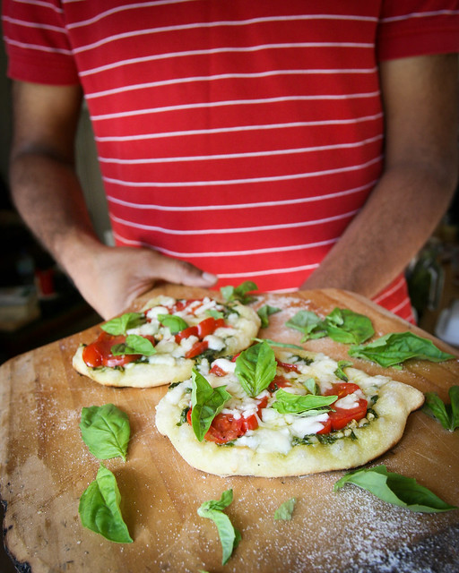 Pizza with Pesto & Homegrown Tomatoes
