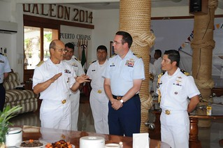 Vice Adm. Francisco Ramon Tiburcio Camacho, 14th Naval Zone Commander, provides an overview of the 14th Naval Zone's roles and responsibilities to U.S. Coast Guard Cutter Boutwell commanding officer Capt. Edward A. Westfall and crew, Sept. 5, 2014. The 14th Naval Zone of the Mexican Navy hosted Cutter Boutwell for a two-day port visit to Puerto Chiapas. (U.S. Coast Guard photo by Petty Officer 1st Class Kris Chirico)