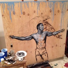 oil paint, reclaimed wood, and two beers later ... #leondavinci #artprogress #thisisgonnatakeforever #imhereallnight #madeofstardust https://www.facebook.com/events/1532848623615215/