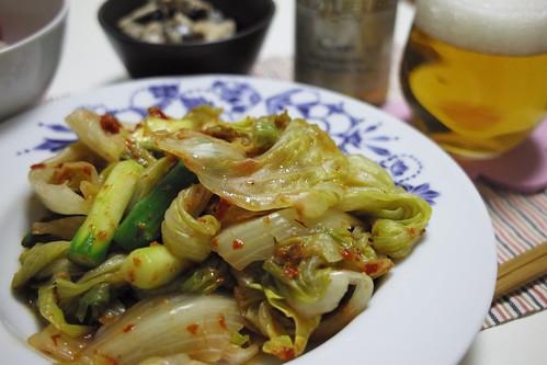 レタス料理(豆板醤)