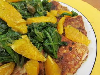 Walnut-Crusted Tofu with Sinach and Orange