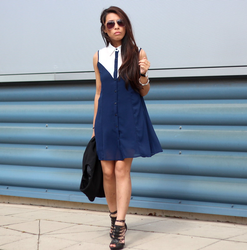 Article 21 Uk Fashion & Style Blog, White Collared Shirt Dress, Blue Shirt Dress, Blue Preppy Collar Dress, Shirt Dresses, Daniel Wellington Male Watches, Office Strappy Black Sandals, Black Caged Sandals, Office Shoes, uk fashion blogger, top uk blogs, best uk fashion blogs, british fashion blogs, uk chinese blogger, manchester fashion blogger
