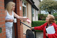 Yes Provan doorknocking with journalist from Belgium, Summer 2014