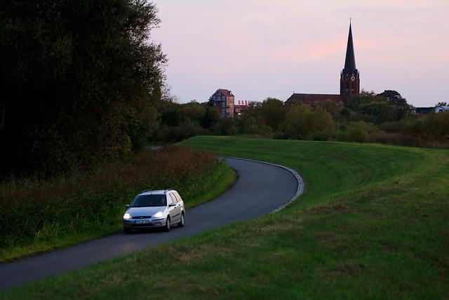 car and church