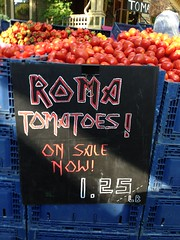 The return of the Maiden-themed tomatoes at the large farmers market