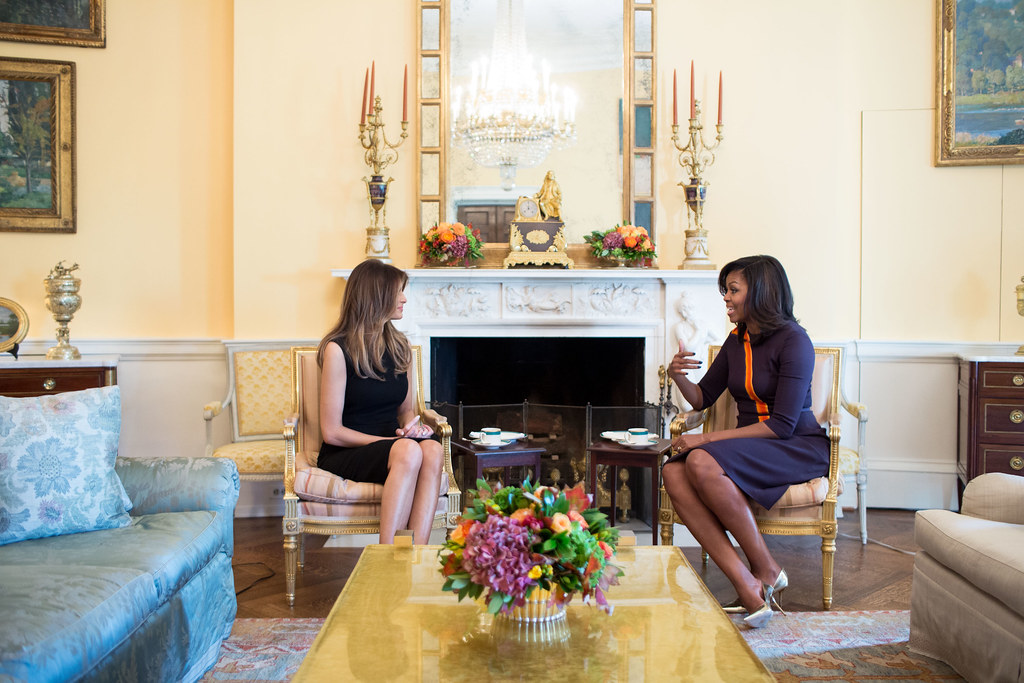 <p>First Lady Michelle Obama meets with Melania Trump for tea in the Yellow Oval Room of the White House, Nov. 10, 2016. (Official White House Photo by Chuck Kennedy)<br /> <br /> This official White House photograph is being made available only for publication by news organizations and/or for personal use printing by the subject(s) of the photograph. The photograph may not be manipulated in any way and may not be used in commercial or political materials, advertisements, emails, products, promotions that in any way suggests approval or endorsement of the President, the First Family, or the White House.</p>