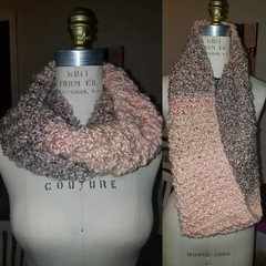 Now Available: children's pink and brown infinity scarf. Could also fit a petite adult. $17 #sale #crochet #fashion #kidsclothes #icrochet