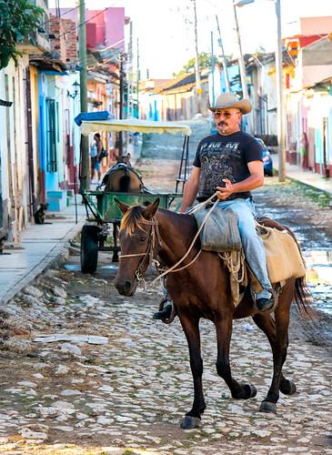 cuba trinidad cigar horse cowboy hat cobblestone