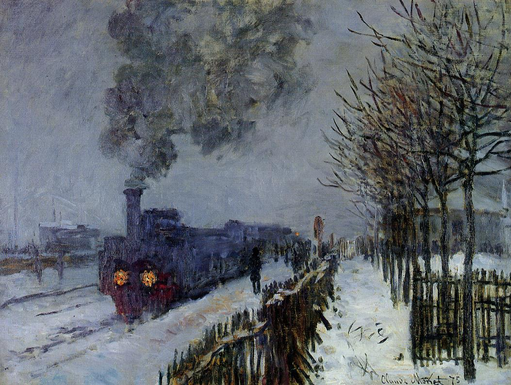 Train in the Snow, the Locomotive by Claude Oscar Monet - 1875