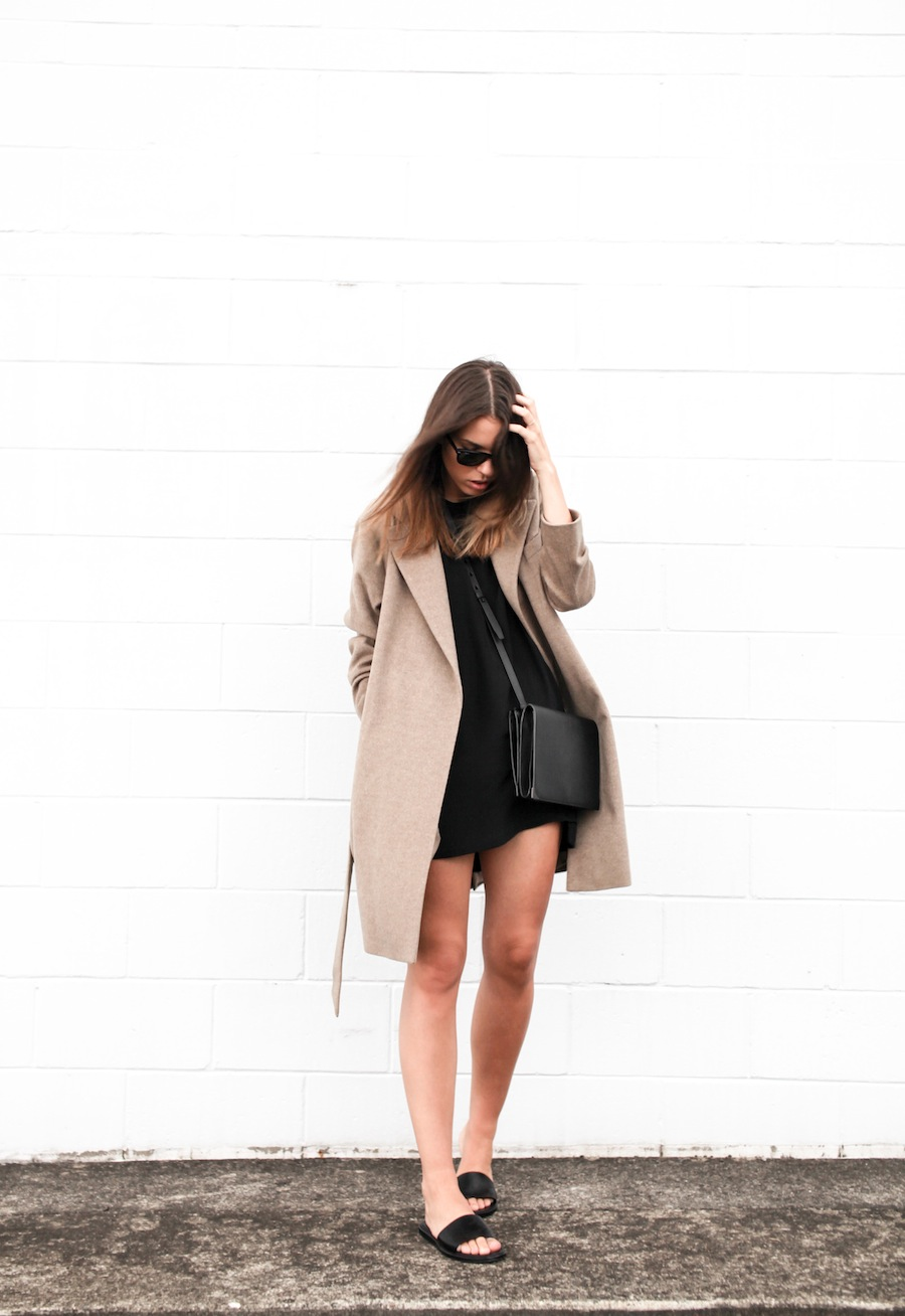 modern legacy blog camel long coat robe wool Zara slide sandals pool Alexander Wang Prisma Envelope cross body bag silk shift dress Nicholas black outfit street style blogger Australia (7 of 8)